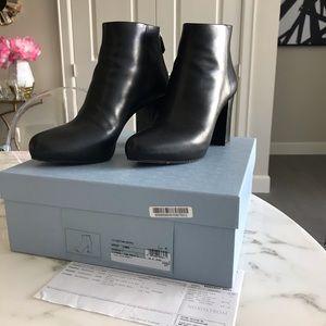 Prada Block Heel Booties 41 black leather